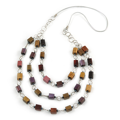 Multi-layered Wood Bead Rubber Cord Necklace (Bronze/ Purple/ Brown) - 86cm L