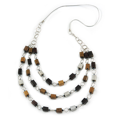 Multi-layered Wood Bead Rubber Cord Necklace (Bronze/ Black/ Silver) - 86cm L