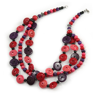 3 Strand Wood Button Bead Necklace In Pink/ Purple - 70cm L