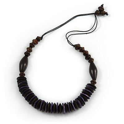 Brown/ Purple Wood Bead with Cotton Cord Necklace - 70cm L