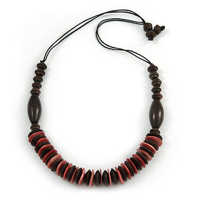 Brown/ Pink Wood Bead with Cotton Cord Necklace - 70cm L