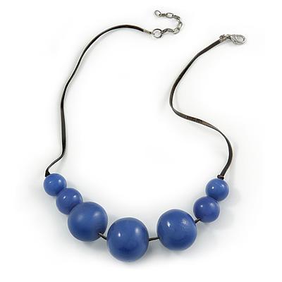 Purple Resin Bead Black Faux Suede Cord Necklace - 46cm L/ 3cm Ext - main view