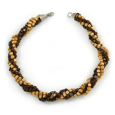 Brown/ Natural Multistrand Twisted Wood Bead Necklace - 40cm L