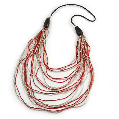 Long Layered Multi-strand Brick Red/ Transparent Glass Bead Black Faux Leather Cord Necklace - 100cm L