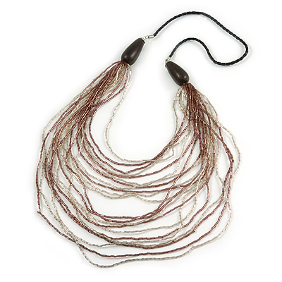 Long Layered Multi-strand Plum/ Transparent Glass Bead Black Faux Leather Cord Necklace - 100cm L - main view