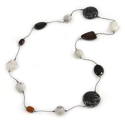 Long Resin, Wood, Ceramic Bead Silk Cord Necklace (White, Black) - 92cm L