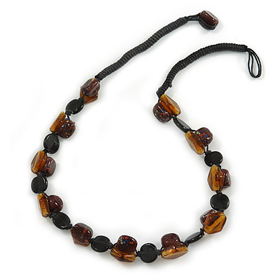 Exquisite Glass and Ceramic Bead Cord Necklace (Brown, Black, Amber) - 54cm Long