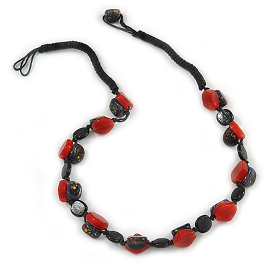 Exquisite Glass and Ceramic Bead Cord Necklace ( Black, Red) - 54cm Long