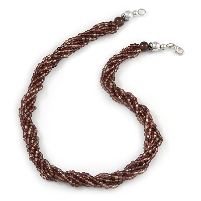 Multistrand Twisted Plum Glass Bead Necklace - 42cm L