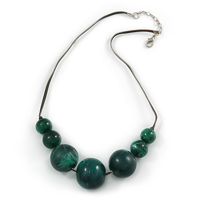 Forest Green Resin Bead Faux Suede Cord Necklace - 46cm L/ 3cm Ext