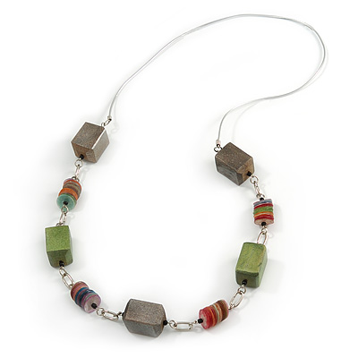 Long Wood Bead Sea Shell Rubber Cord Necklace (Multicoloured) - 90cm L