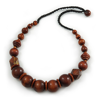 Chunky Brown Wood Bead with Black Cotton Cord Necklace - 60cm L - main view