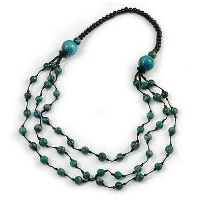 Long Layered Teal Green/ Black Wood Bead Necklace - 90cm L