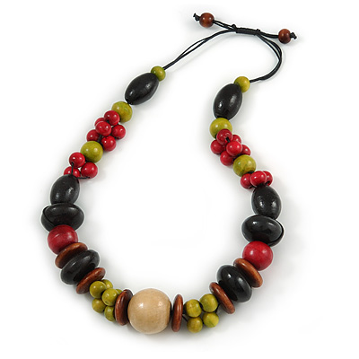 Chunky Multicoloured Wood Bead Cotton Cord Necklace - 60cm L