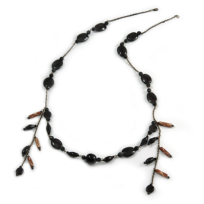 Vintage Inspired Black Ceramic/ Brown Bone Bead with Tassel Bronze Tone Chain Necklace - 96cm L