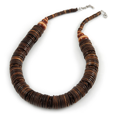Statement Brown Wood Coin Bead Chunky Style Necklace - 56cm L/ 3cm Ext
