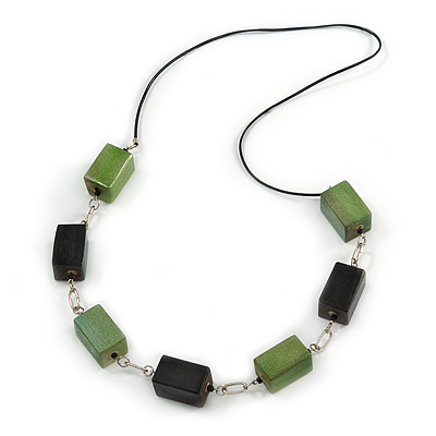 Long Wood Bead with Silver Tone Metal Links Black Rubber Cord Necklace (Glitter Green/ Black) - 84cm L