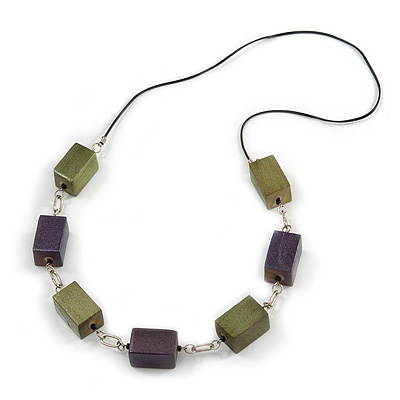 Long Wood Bead with Silver Tone Metal Links Black Rubber Cord Necklace (Glitter Green/ Purple) - 84cm L