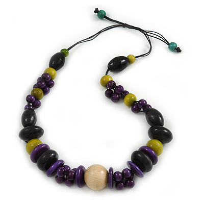 Statement Wood Bead Necklace with Black Cotton Cords (Purple, Black, Green) - 70cm L