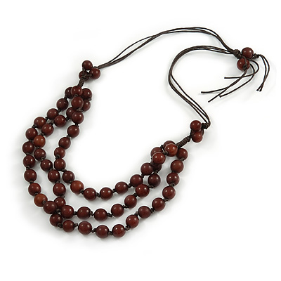 Layered Brown Resin Bead Cotton Cord Necklace - 74cm L