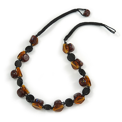 Exquisite Glass and Ceramic Bead Cord Necklace ( Black, Brown) - 54cm Long