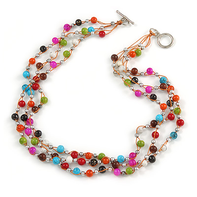 3 Strand Multicoloured Ceramic, Silver Acrylic Bead Necklace - 44cm L - main view