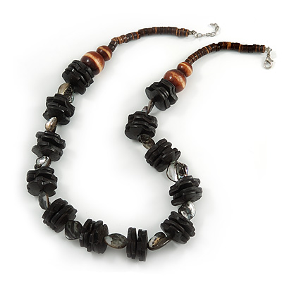 Black/ Brown Wood Bead and Sea Shell Nugget Necklace - 60cm L/ 4cm Ext