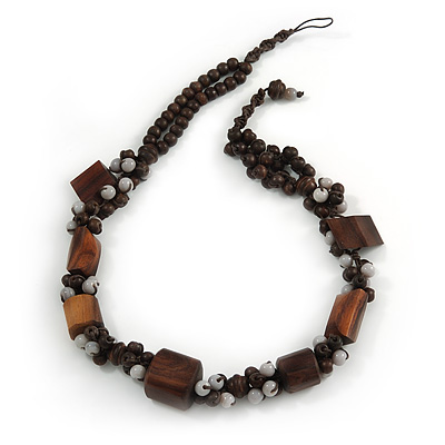 Wood and Ceramic Cluster Bead Brown Cord Chunky Asymmetrical Necklace - 60cm L