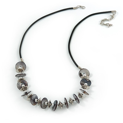 Dark Grey Coin Shell and Silver Tone Metal Button Bead Black Rubber Cord Necklace - 61cm L/ 7cm Ext