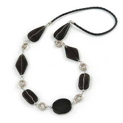 Black Ceramic and Silver Tone Wire Element Black Faux Leather Cord Necklace - 76cm L