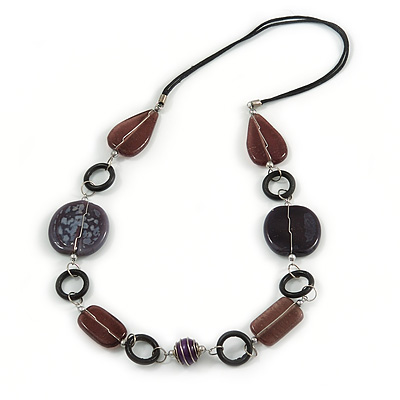 Purple/ Plum Ceramic Bead and Black Wood Ring Cotton Cord Necklace - 72cm L - main view