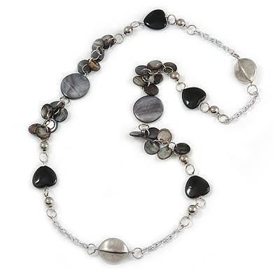 Black/ Grey Sea Shell, Heart Acrylic, Silver Ball Beaded Long Chain Necklace In Silver Tone - 88cm Long