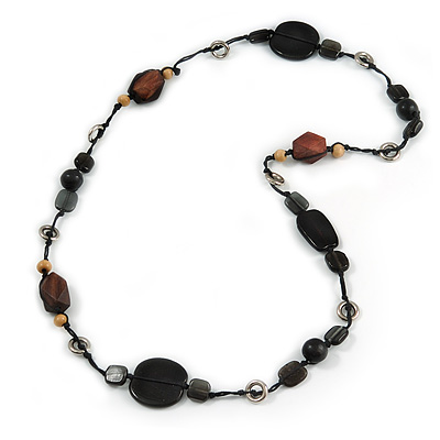 Black/ Brown Wood, Ceramic, Metal Beaded Black Cord Necklace - 96cm Long