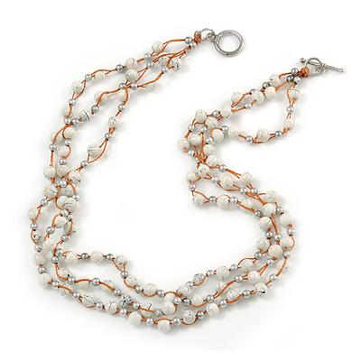 3 Strand White Ceramic, Silver Acrylic Bead Necklace - 44cm L - main view