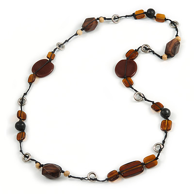 Statement Ceramic/ Wood Bead and Metal Ring Cotton Cord Long Necklace ( Brown/ Natural) - 100cm L