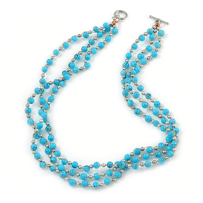 3 Strand Light Blue Ceramic, Silver Acrylic Bead Necklace - 44cm L