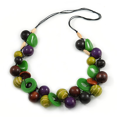 Chunky Cluster Wood, Resin Bead Black Cotton Cord Necklace (Olive, Brown, Purple, Green) - 84cm L/ 185g