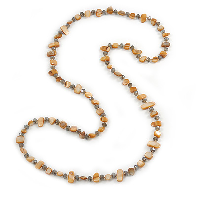 Long Sandy Brown/ Light Grey Shell Nugget and Glass Crystal Bead Necklace - 110cm L