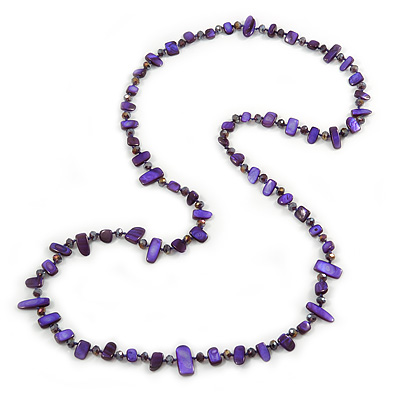 Long Purple/ Violet Shell Nugget and Glass Crystal Bead Necklace - 110cm L