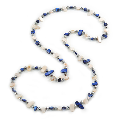 Long Blue/ Off White Shell Nugget and Glass Crystal Bead Necklace - 110cm L
