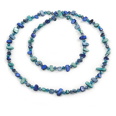 Long Blue/ Teal Green Shell Nugget and Glass Crystal Bead Necklace - 110cm L