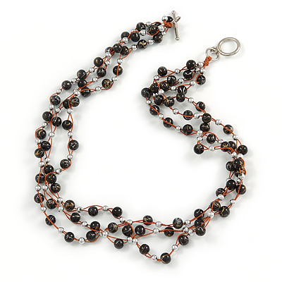 3 Strand Black Ceramic, Silver Acrylic Bead Necklace - 44cm L - main view