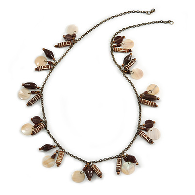 Boho Style Shell, Ceramic, Bone Charm with Bronze Tone Chain Necklace - 76cm L - main view