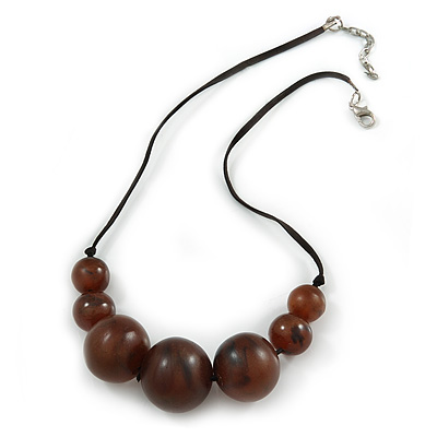 Brown Resin Bead Black Faux Suede Cord Necklace - 46cm L/ 3cm Ext - main view