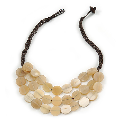 Layered Light Yellow Resin Bead Brown Cotton Cord Necklace - 40cm Long