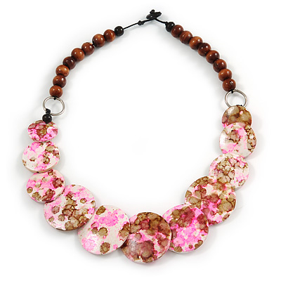 Brown/ Pink/ White Wood Beaded Necklace - 55cm Long