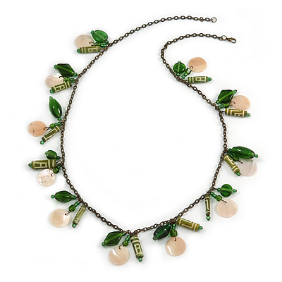 Boho Style Shell, Ceramic, Bone Charm with Bronze Tone Chain Necklace (Green/ Natural) - 76cm L - main view