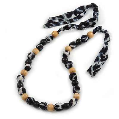 Stunning Wood Bead with Fabric Detailing Necklace (Natural, Black, Blue) - 60cm Long