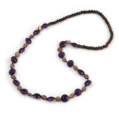 Wood, Ceramic Beaded Long Necklace (Purple, Plum, Brown) - 80cm L