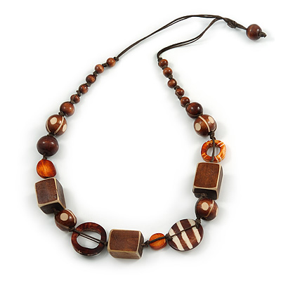 Geometric Wood Bead Cotton Cord Necklace In Brown - 76cm L